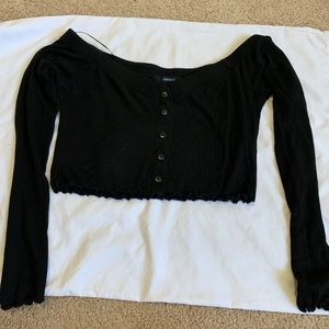 Black long sleeve off the shoulder top